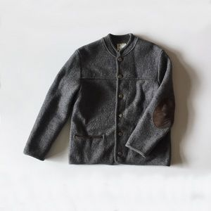Vintage Grey Wool Coat Suede Elbow Patches L
